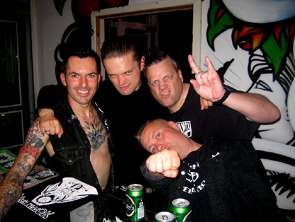 Vic Victor (Koffin Kats), Jeppe (Hola Ghost), KP, Peter (Hola Ghost) at Sin City, Copenhagen 2012